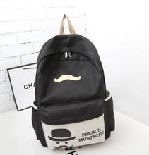 Guaranteed 100% women canvas backpack school bag french mustache backpack cartoon school backpacks for teenage girls(China (Mainland))
