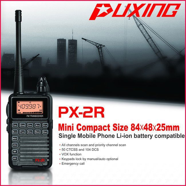 Walkie Talkie Puxing PX Puxing PX-2R UHF400-470MHz TX&RX,VHF136-174MHz RX transceiver with Keypad LCD for security,hotel,ham(China (Mainland))