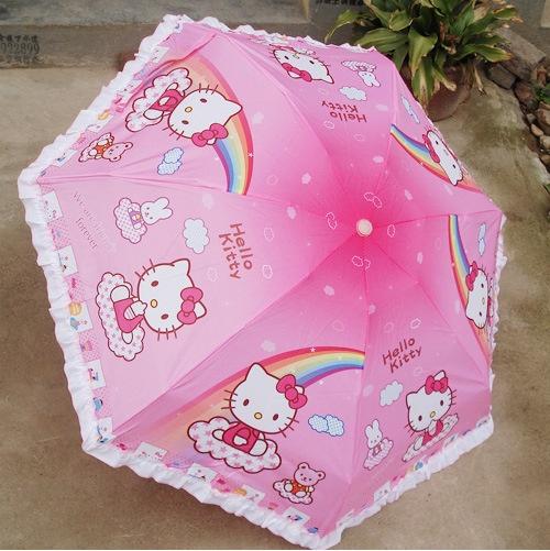 Luxury Women 5 Fold Umbrella hello kitty Guarda Chuva Sombrinha Parasol Sunshade Rain Umbrella(China (Mainland))
