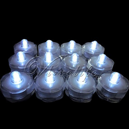 12 White  LED Submersible Lights Candles Waterproof Replaceable Xmas Wedding