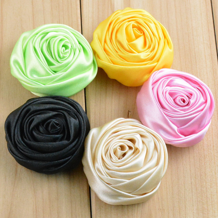 """New 1.97"""" Multilayer Satin Rosettes Rose Flowers for Headband Hair Acessories DIY Photo Props 21 colors in stock 30pcs/lot FH44(China (Mainland))"""