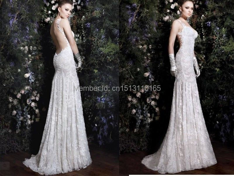 Vintage see through corset ivory backless mermaid wedding for Wedding dress with see through lace bodice