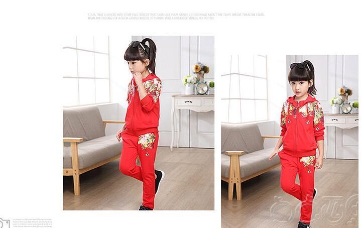 Скидки на ГОРЯЧАЯ! 2017 новый девушки мода досуг два костюма обмундирования осени дети цветов от 2 до 12 лет платье девушки прилив