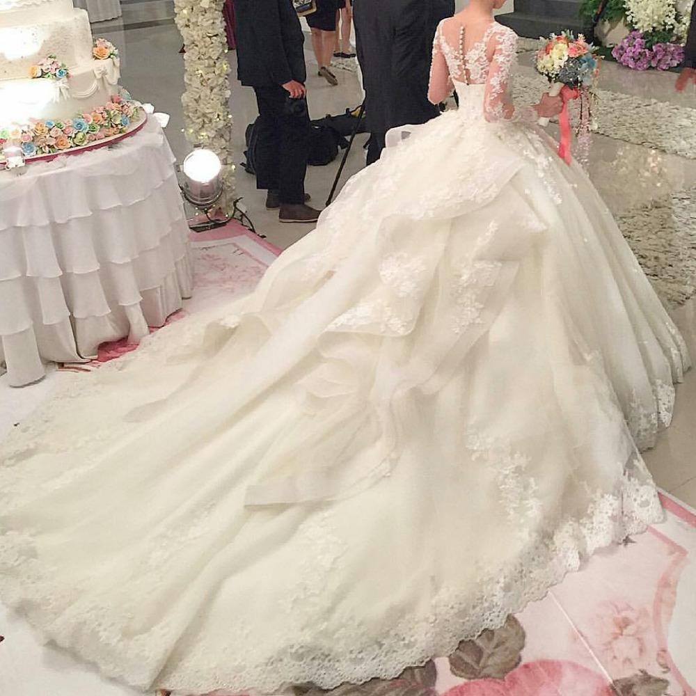 2016 мода совок аппликация само назад с длинным рукавом паффи принцесса свадебные платья