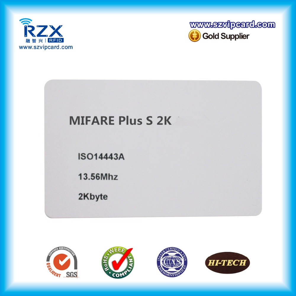 Overlay lamination plastic material CR80 MIFARE Plus S 2K (4byte UID) blank card(China (Mainland))