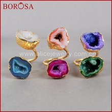 Buy BOROSA Cave Two Druzy Ring Fashion Dyed Colors Natural Crystal Geode Adjustable Ring Gold Color Freeform Drusy Jewelry G0174 for $30.36 in AliExpress store