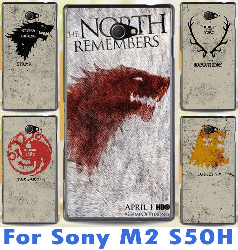 family flag of the game of thrones For Sony Xperia M2 S50h Dual D2302 D2305 D2303 D2306 cool printed cell phone skin shell case(China (Mainland))