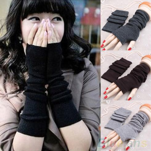 Women Fashion Knitted Arm Fingerless Long Mitten Wrist Warm Winter Gloves 1SJU
