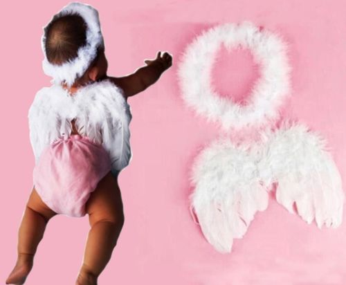 White Feather Fairy Angel Wings + Halo Baby Kids Festival Costume Photo Props(China (Mainland))