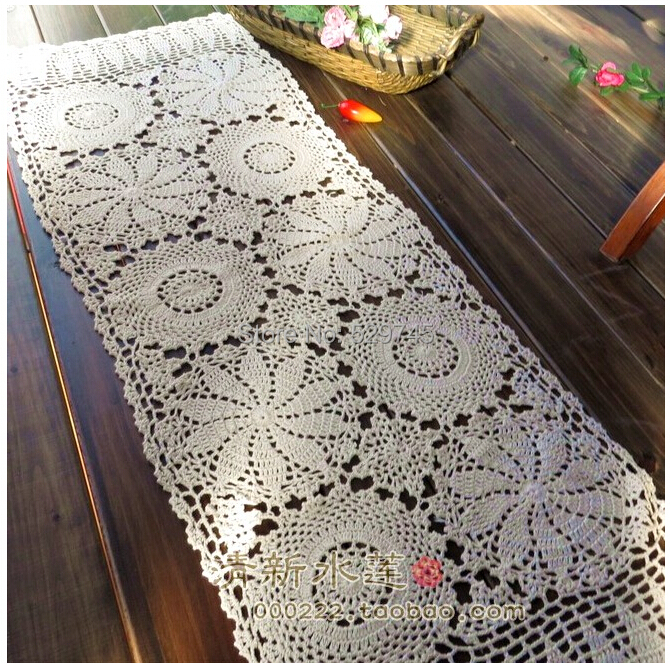 New Vintage Crochet handmade Flower Cotton Table Runner Woven openwork Lace tablecloths furniture Cover cloth(China (Mainland))