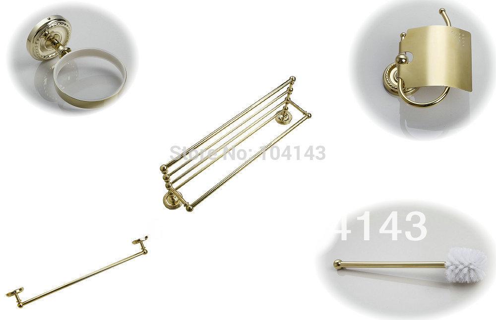 5 Pcs Set Wall Mounted Golden Towel Rack Toilet Brush Hook Paper Holder Other 8716(China (Mainland))