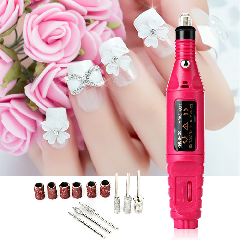 1set 6bits 20000rpm Professional Electric Manicure Machine Nail Drill art Pen Pedicure File Polish Shape Tool Feet Care Product(China (Mainland))