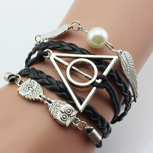 Buy Simple Owl Harry Potter Deathly Hallows Snitch Wings Bracelet,Imitation pearl,Black Woven Leather Men Gift for $1.30 in AliExpress store