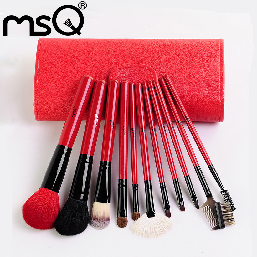 Fashion MSQ 11 PCS Professional Makeup Brushes Set Cosmetic Brush Tool Kit  With Red Soft Leather Bag Brand New<br><br>Aliexpress