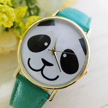 Popular Cute Panda Pattern Round Dial Faux Leather Analog Quartz Adorable Watches Design Watch NO181 5UZV W2E8D