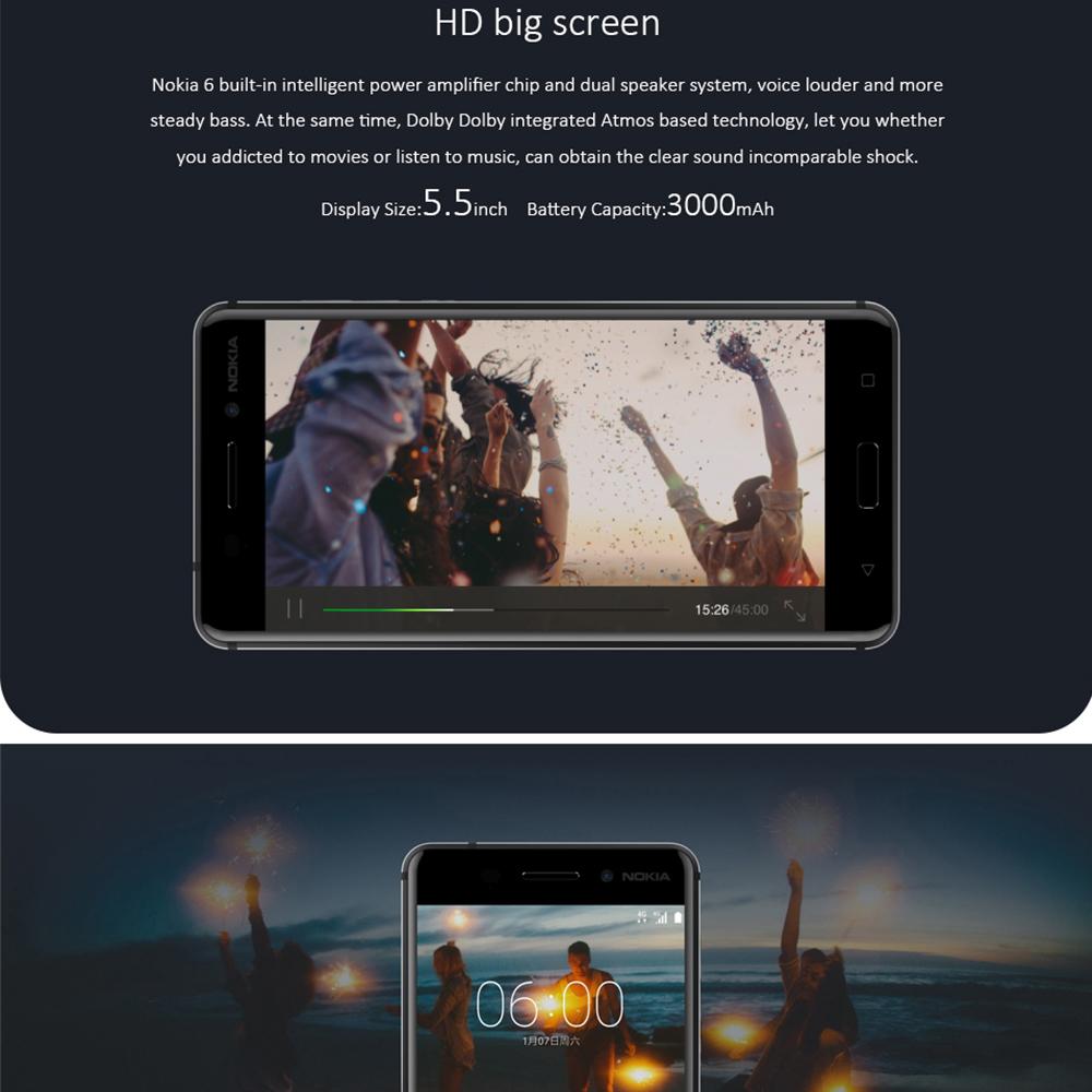 """2017 New Original Nokia 6 Mobile Phone 4G LTE Dual SIM Qualcomm Octa Core 5.5"""" Fingerprint 4G RAM 64G ROM 3000mAh 16MP Nokia6"""
