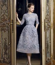 Elie Saab Evening Dresses Sheer O Neck Half Sleeve With Lace Applique Beads Tea-Length Formal A Line Evening Gown Custom Made(China (Mainland))