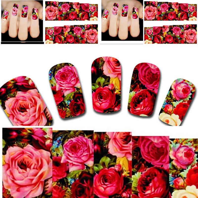 Beautiful Water Transfer Nail Art Sticker Decal Sexy Red Rose Flowers Garden Design DIY Manicure Manicure Tool XF1411(China (Mainland))