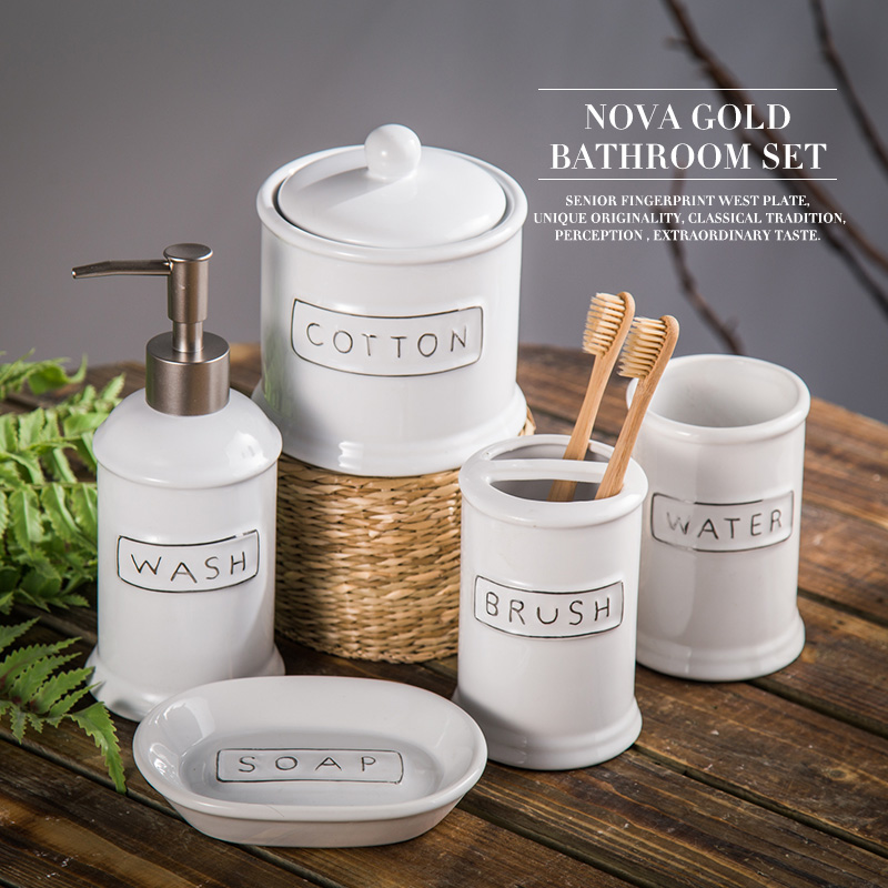 Ceramic bathroom set five piece of bathroom item fashion for Bathroom 5 piece set
