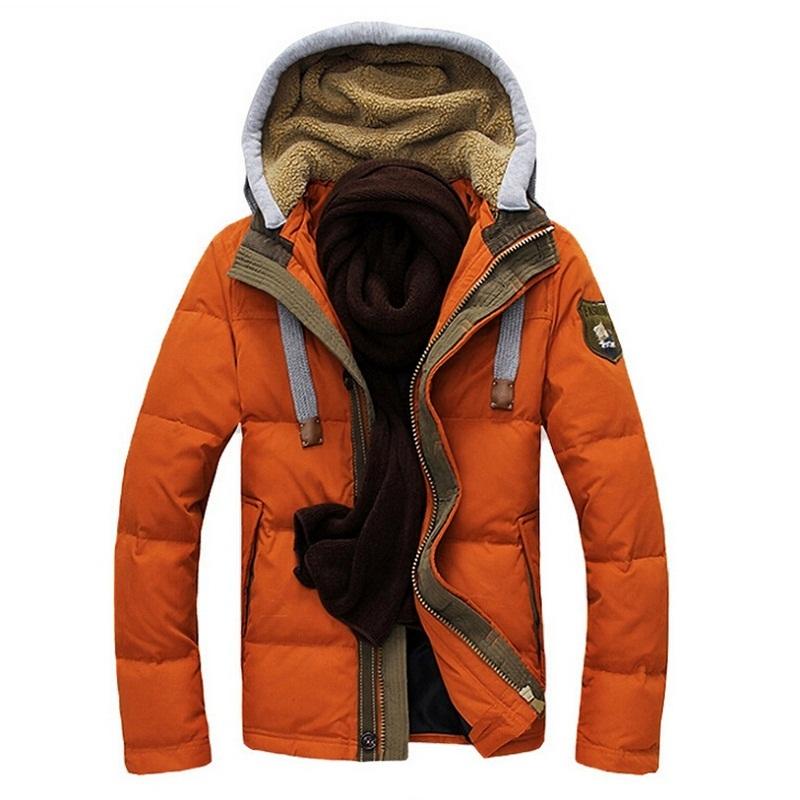 Winter Jacket Men Slim Fit Warm Down Jackets Men's Thick Hood Detachable Outwear White Duck Down Homme outdoor Coats