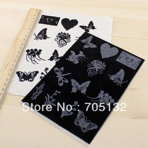 Zr1308 butterfly love three-dimensional flocking heat transfer film paper 12x17cm 5pcs black DIY patchwork accessory wholesale(China (Mainland))