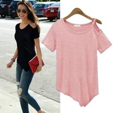 New Solid camisetas Summer Cotton t-shirt Fashion Tops 2016 Punk Rock tee shirt femme Off the Shoulder Strap T Shirt Women C487(China (Mainland))