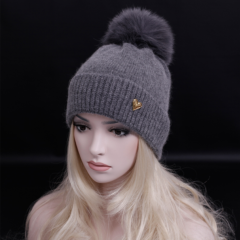 Free shipping ! 2016 Brand Women Winter Hat Lady Cap real fox pompons Luxury Beanie Candy Color caps high quality Cashmere hat(China (Mainland))