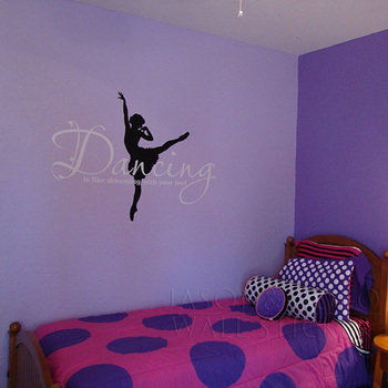 BIG Ballet Dancing is like Dreaming with your feet  Vinyl Wall Lettering Words Quotes Decals Art Custom  60*83CM  Free shipping