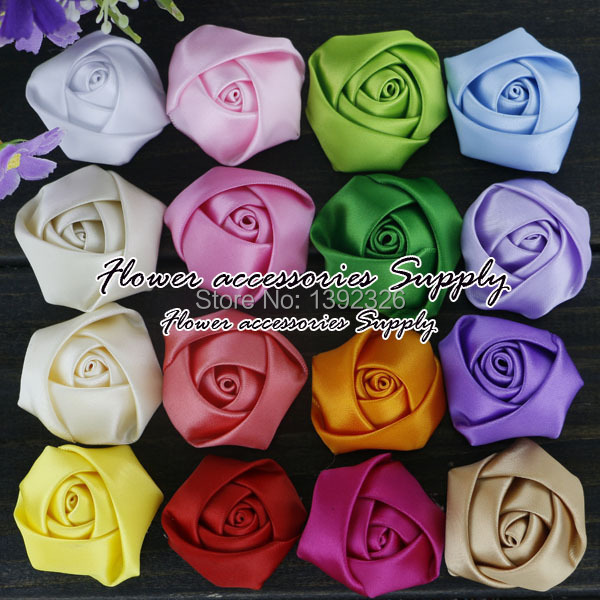 "Здесь можно купить  EMS Free Shipping 1200pcs/lot 1.5"" Handmade Polyester Rose Flower Satin Ribbon Rosettes For Girls Headwear Baby Hair Accessories  Одежда и аксессуары"