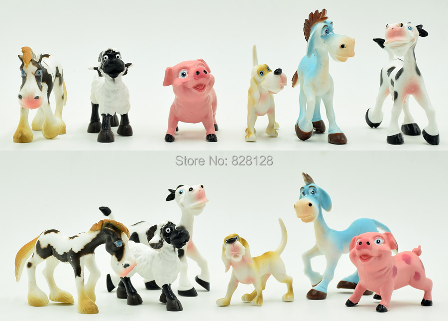 2015 New Arrival Cute Farm Animals Action Figure 6pcs/lot PVC Cartoon Horse/Sheep/Pig/Dog/Cow Collection Educational Toys(China (Mainland))