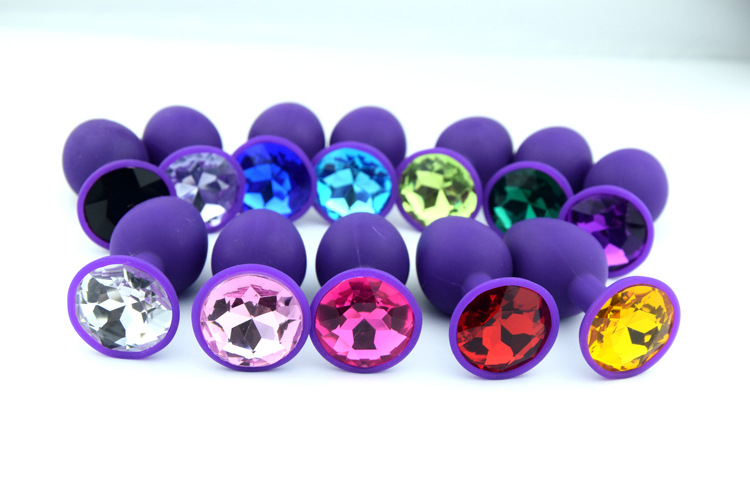 1PCS Purples Women/Men Butt Anal Plug Insert Silicone Anal Toy Random Color Plated Jeweled Rhinestone Sexy Stopper<br><br>Aliexpress