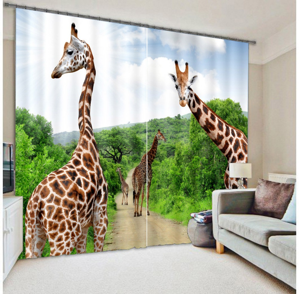 Фотография Beautiful Giraffe 3D Photo Printing Blackout Curtains For Living room Girls/Kids Boys Bedding room Drapes Cortinas