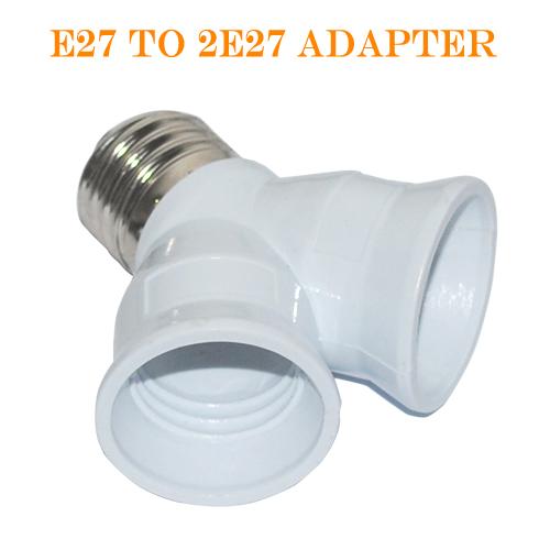 1pcs E27 1 to 2 E27 LED CFL Base Light Lamp Bulb Adapter Converter Socket Splitter Lamp Holder Converters for led Corn Bulb(China (Mainland))