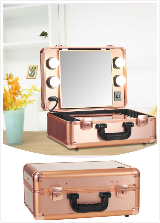 Portable Make Up Artist Suitcase LED Lighted Travel Cosmetic Storage Case(China (Mainland))