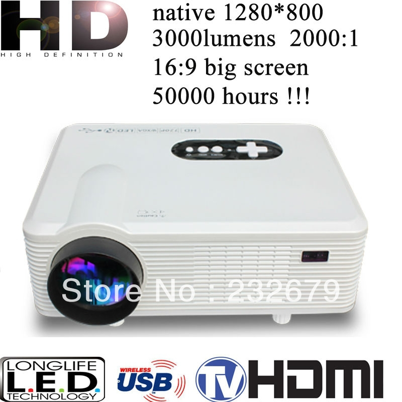 China Manufacturer HD Projector 1080P Portable Projector 3000Lumens, 1280*800, Portable Size(China (Mainland))
