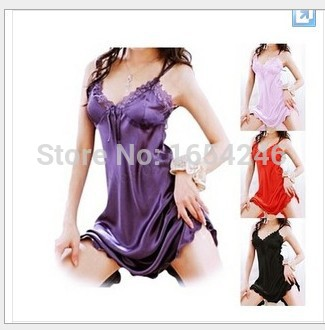 Hot Sexy Lingerie Satin Lace Hot Sleepwear G-String Thong with Stockings Sexy Night Dress Plus Size Sexy Underwear(China (Mainland))