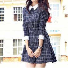 2016 New Spring Clothes Women Dress Long Sleeve Turn-Down Collar Vintage Dress Fashion Casual Slim A-Line Plaid Dresses S20412