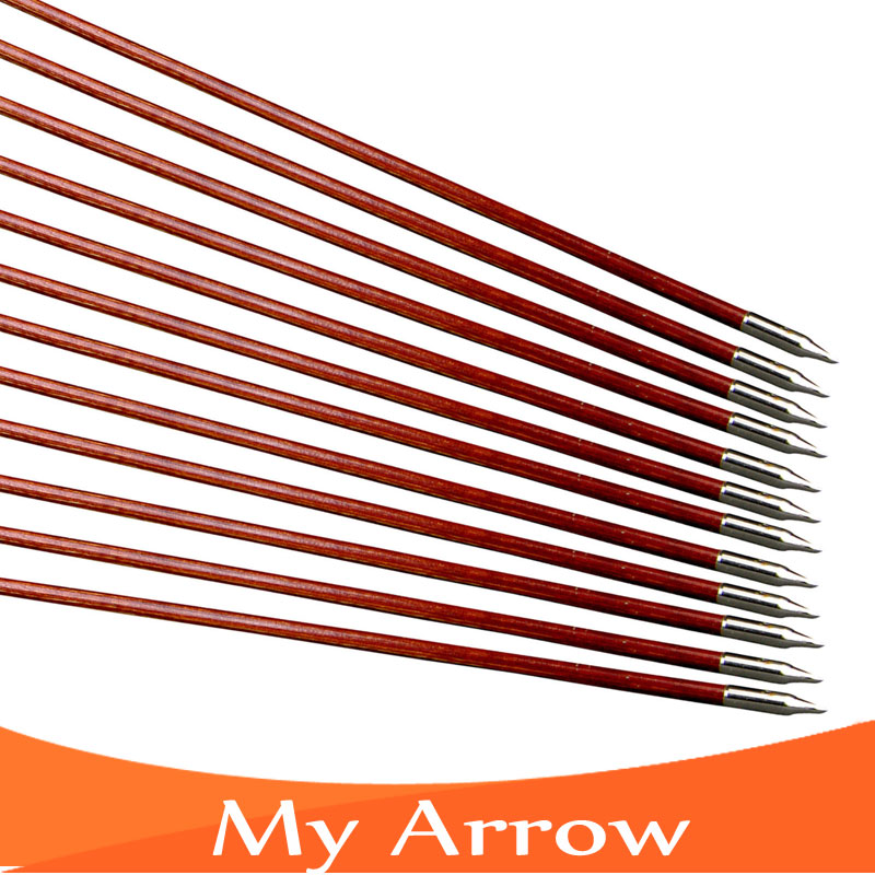 Handmade Turkey Feather Traditional Wooden Arrows For Recurve Bow 12pcs 30 Long Bow Archery Wooden Arrows