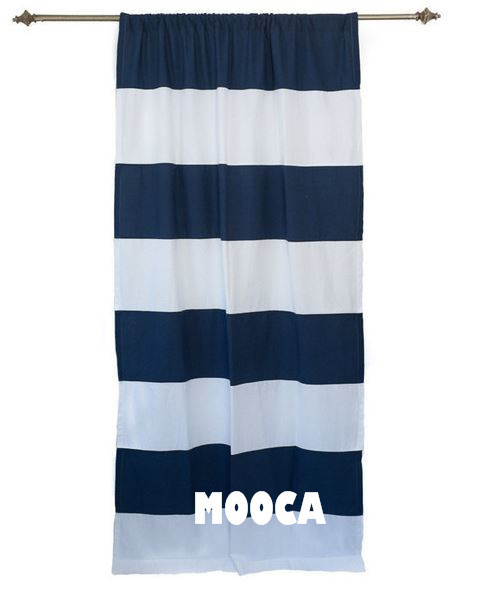 100 Cotton Navy Blue And White Horizontal Stripe Curtain Panel For Living Room Nursery Curtains