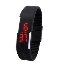 Caliente! 2015 a prueba de agua las teclas táctil square dial Digital de la jalea silicón de la pulsera LED reloj de pulsera deportivo moda mujer hombre reloj
