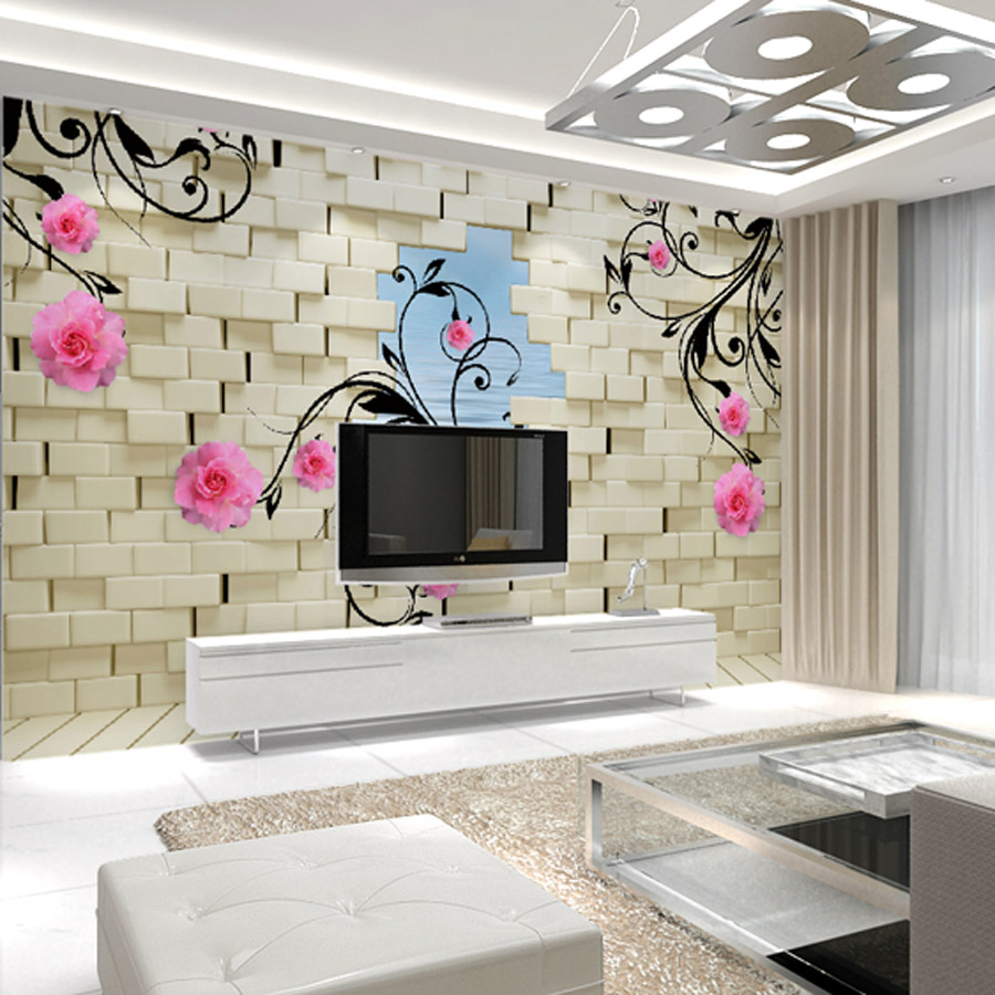 Custom flower painting the living room tv backdrop for 3d wallpaper in room