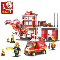 Free Shipping Sluban M38-B0225 Firefighting Center - children educational assembling toys diy building blocks toy
