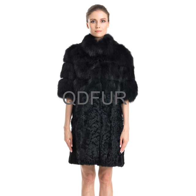 Ladies Fashion Genuine Real Fox Fur Coat Jacket & Lamb Fur Hem Half Sleeve Winter Women Fur Trench Outerwear Coats QD22111