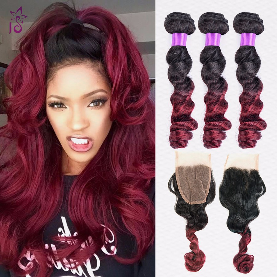 Burgundy Brazilian Loose Wave With Closure Ombre Human Hair Weave Bundles With Closure 99j 4 Bundles Virgin Hair With Closure JS