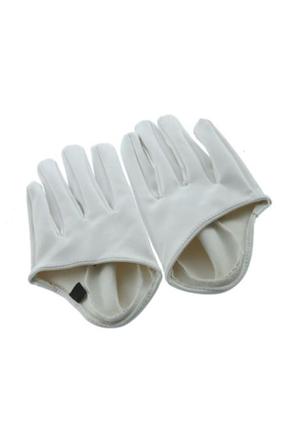 Women's Faux Leather Five Finger Half Palm Gloves White(China (Mainland))