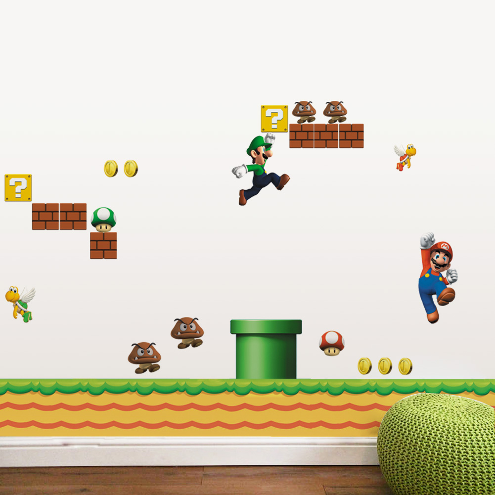classical game super mario wall stickers for kids room home decor ...