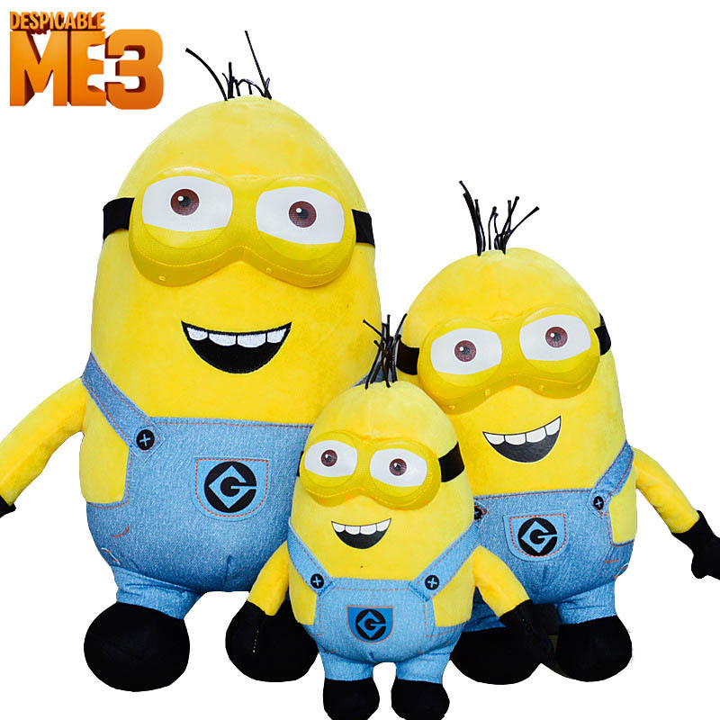 3pcs/Set 3D Eyes Despicable Me 3 Minions Plush Toys Soft Baby Plush Stuffed Animals Toy Party Supplier(China (Mainland))
