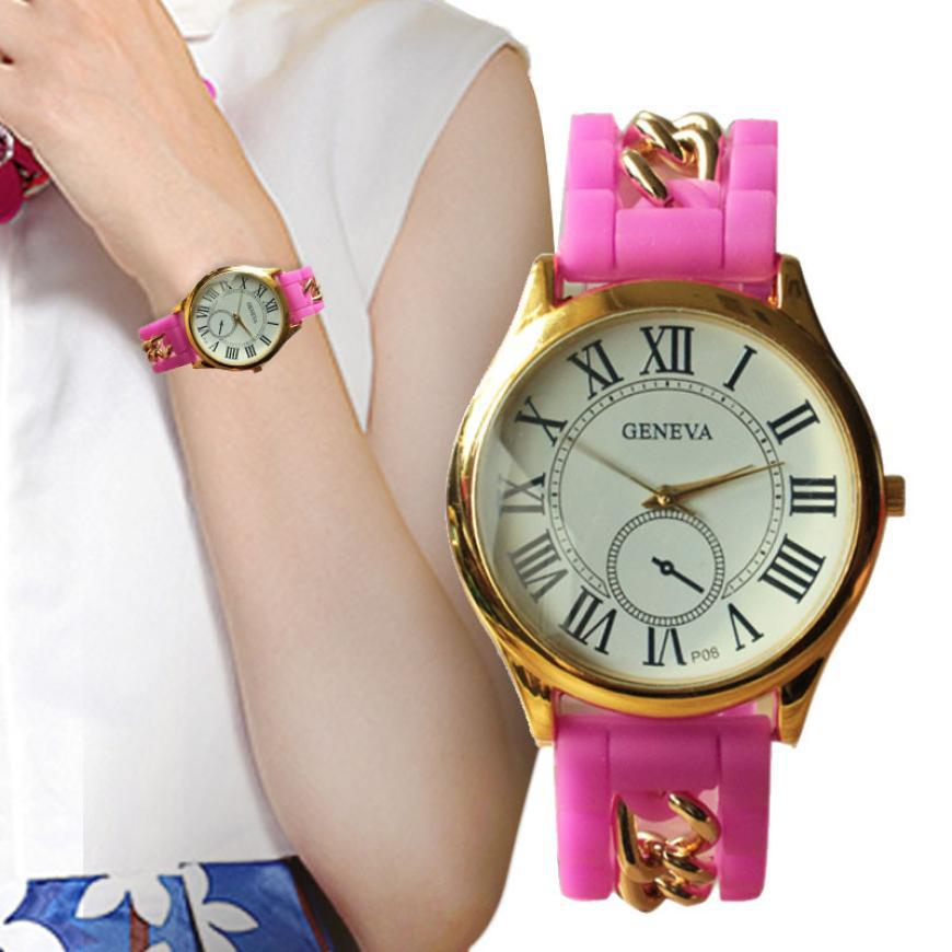 landfox reloj mujeres popular womens watches fashion watches new products rose gold silicone rubber bands quartz watch women(China (Mainland))