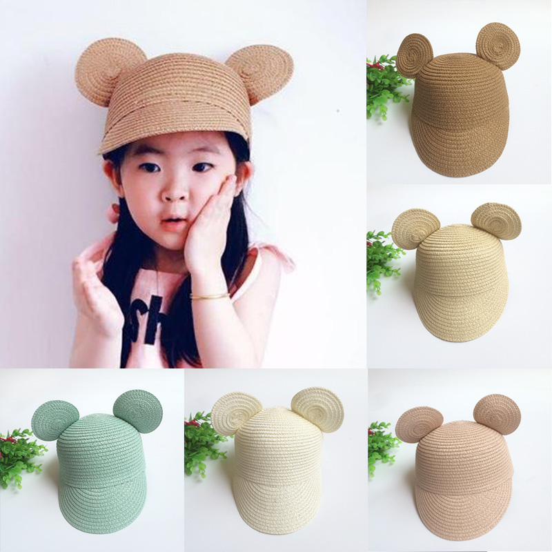 Summer Sun Hat Girls Kids Straw Hat Cap Beach Hats Bag Cartoon Mouth Shape Big Ear Lovely baby hat(China (Mainland))