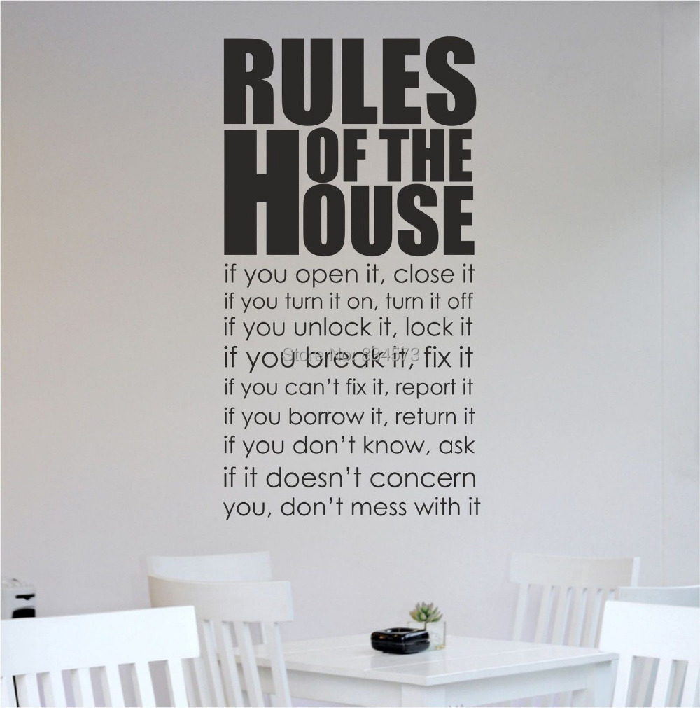 House Rules Kitchen Living Room Wall Art Sticker Wall